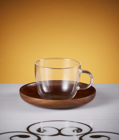 Greenwood Coffee Cup & Saucer in Glass & Acacia