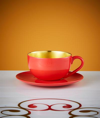 Desire Coffee Cup And Saucer in Red And Gold