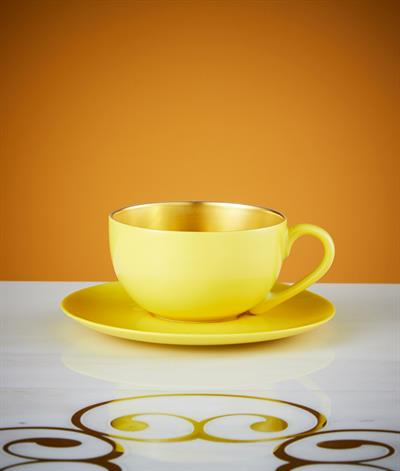 Desire Coffee Cup And Saucer in Yellow And Gold