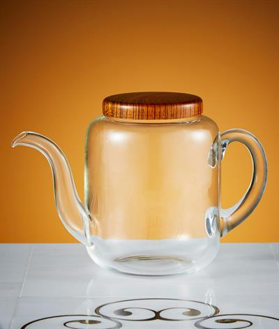 Glacier Coffee Pot in Glass And Wood