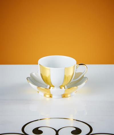 Hoffmann Coffee cup And Saucer in White And Gold