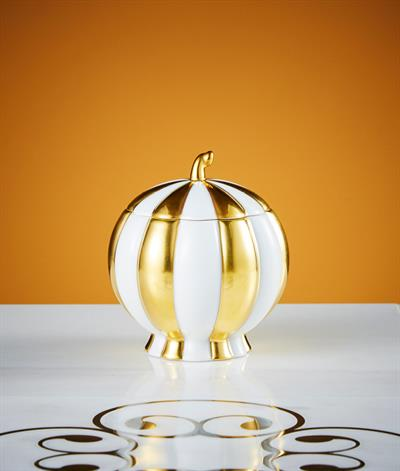Hoffmann Sugar Bowl in White And Gold