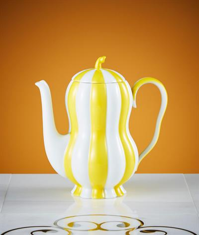 Hoffmann Coffee Pot in Yellow And White