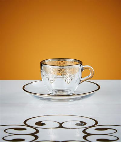 Levantine Coffee Cup And Saucer in Platinum
