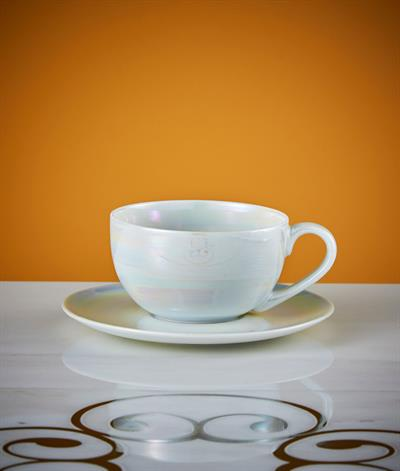 Rainbow Coffee Cup And Saucer in Pearl