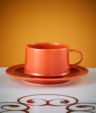 Signore Coffee Cup And Saucer in Orange