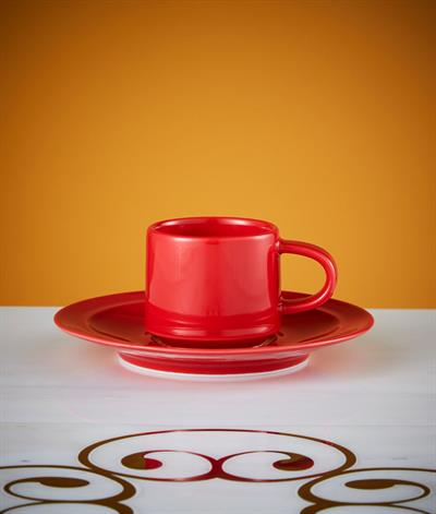 Signore Espresso Cup And Saucer in Red