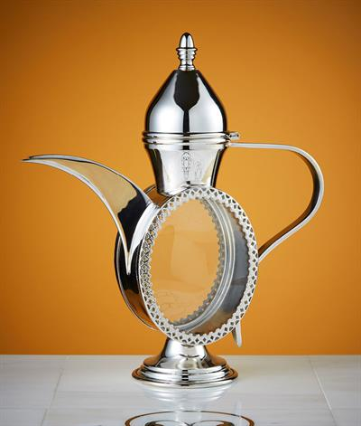 Sultan Coffee Pot in Silver Plate And Glass